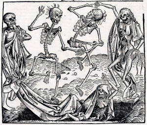 """Danse macabre by Michael Wolgemut"". Licensed under Public Domain via Commons."