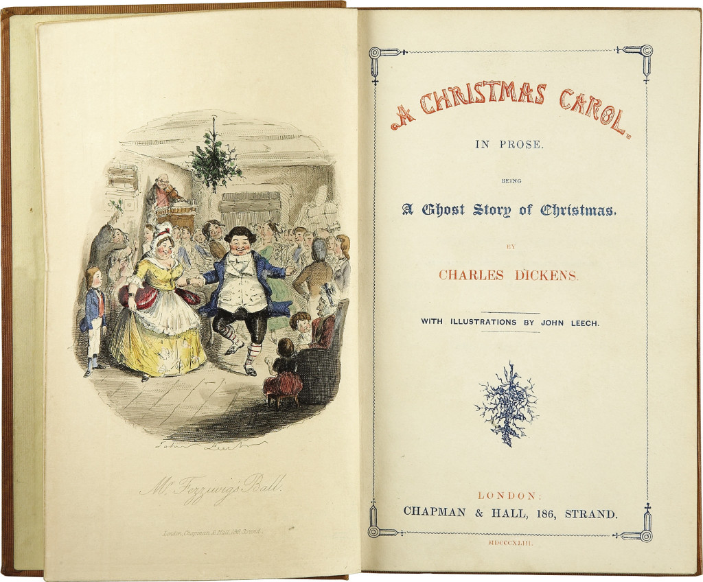 Frontispiece and title page of the first edition of A Christmas Carol, 1843.