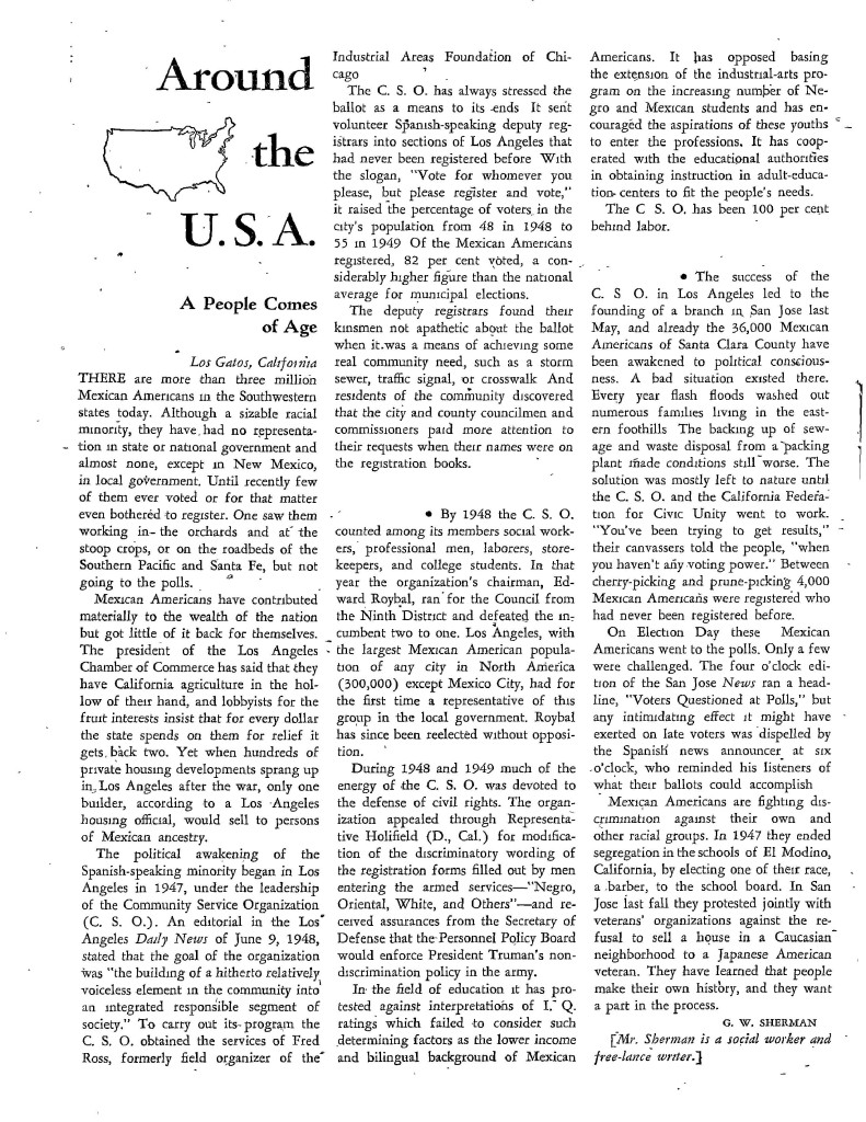The first national magazine coverage of Ross and the CSO, published in the Nation, 1953. Copyright Nation Company, L.P.