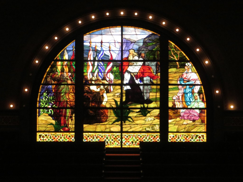 Figure 3.1: Moses holding the Ten Commandments . . . in Yosemite. This stained glass window is found in the main sanctuary of Congregation Sherith Israel in San Francisco.