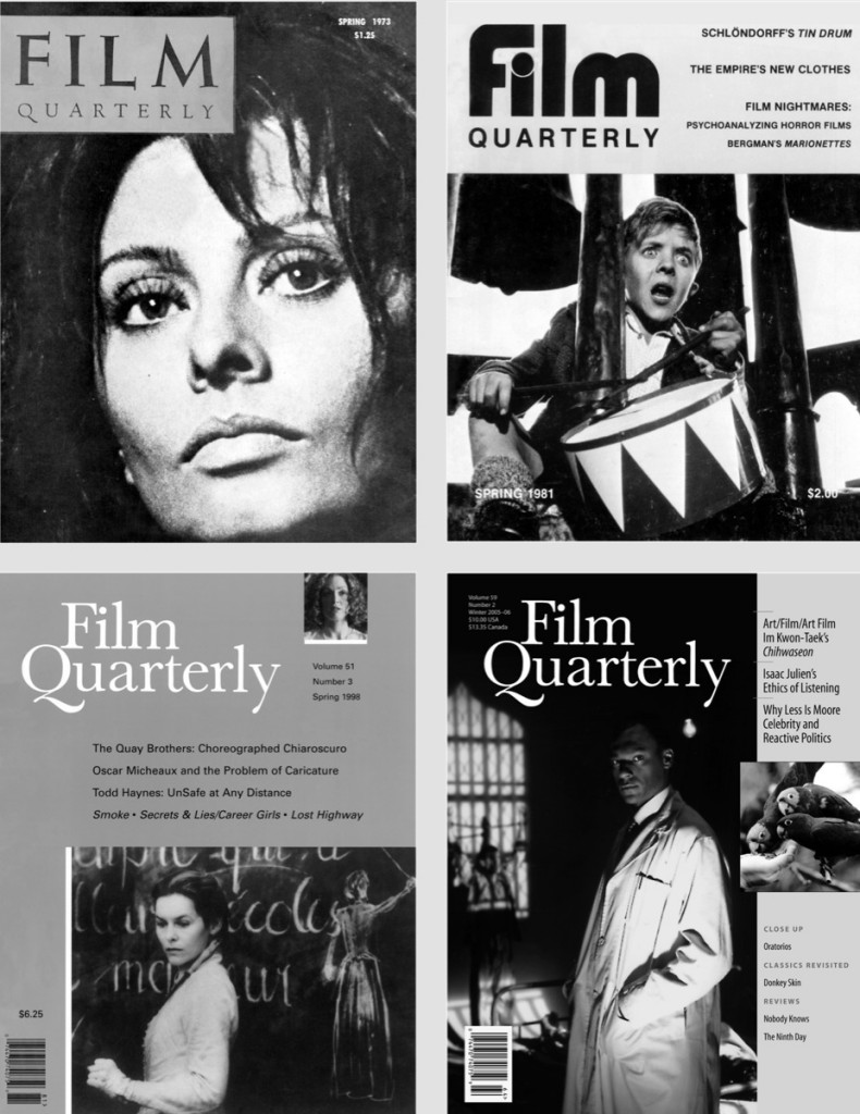Cover images clockwise from top left: Man of La Mancha (Arthur Hiller, 1972). The Tin Drum (Volker Schlöndorff). Frantz Fanon: Black Skin, White Mask (Isaac Julien, 1996), The Wild Parrots of Telegraph Hill (Judy Irving, 2003). Safe (Todd Haynes, 1995), Institute Benjamenta (Brothers Quay, 1995).